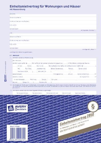 Avery Zweckform 2850 Einheitsmietvertrag (für Wohnungen und Häuser, A4, selbstdurchschreibend) 5 Stück, blau