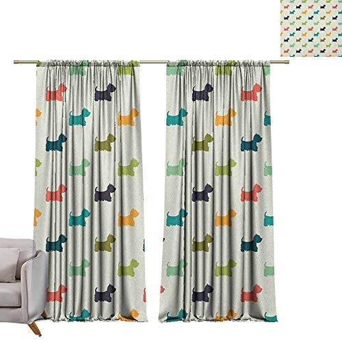 Room Darkening Wide Curtains Dog Lover,Polka Dotted Animal Silhouettes English Terriers Cute Abstract Pattern Image, Multicolor W108 x L84 Window Curtain Fabric