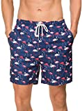 Janmid Mens Quick Dry Flamingo Swim Trunks with Mesh Lining Swimwear Bathing Suits