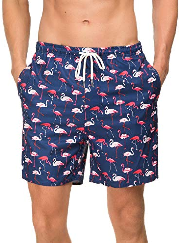 Janmid Mens Slim Fit Quick Dry Short Swim Trunks with Mesh Lining Flamingo M