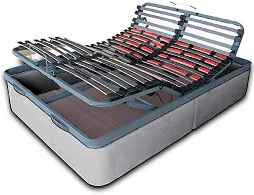 Ventadecolchones - Canapé Tapizado Articulado Abatible Gran Capacidad Polipiel Plata, Medidas 90 x 200 cm con Mando inalámbrico