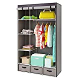 HOME BI Portable Clothes Closet Wardrobe, Non-woven Fabric Clothes Closet Storage for Clothes for Clothes with 3 Drawers, Large Space, Easy to Assemble, 41.34L x 17.72W x 62.3H(Eiffel Tower)