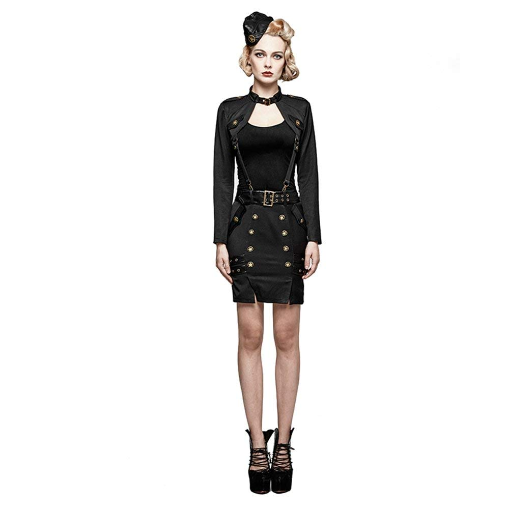 PUNK RAVE Women's Bodycon Short Skirts Military Uniform Pencil Skirts Halloween Cosplay