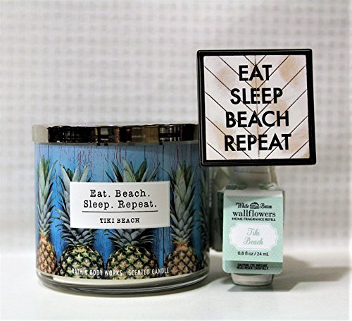 Bath & Body Works Tiki Beach - 3 wick scented candle, Wallflowers Fragrance Refill & Eat Sleep Beach Repeat Wallflowers Fragrance (Beach Tiki Bath)