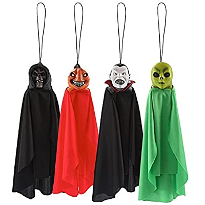 Spooktacular Creations Set of Four 16 Inch Hanging Ghost Halloween Decorations With Different Designs from Spooktacular Creations