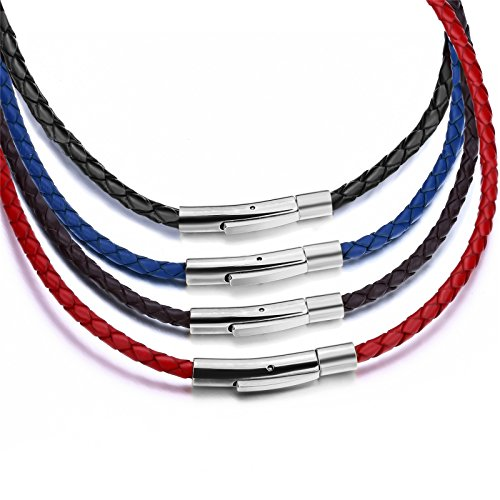 Elfasio 3mm Mens Womens Leather Necklace Multicolor Braided Cord Silver Stainless Steel Secure Clasp Necklaces Chain 18-30