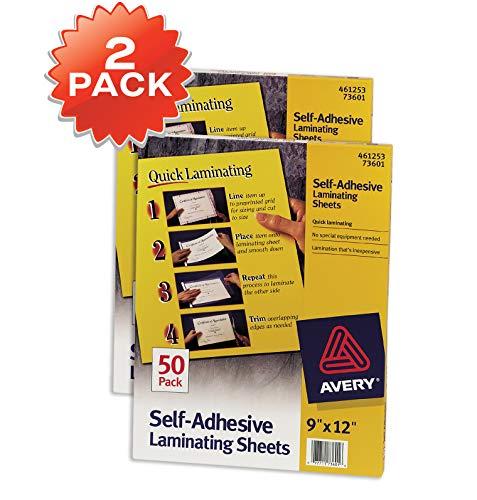 Avery Self-Adhesive Laminating Sheets, 9 x 12, Box of 50, Multi Pack of 2 (73601)