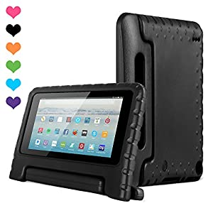 Amazon Kids Kindle Fire 7 Case 2015 Release for Boys&Girls,CAM-ULATA Tablet 7 inch Cover Shock Proof Protective with Handle Stand Holder Light Weight (Previous Generation - 5th) Black