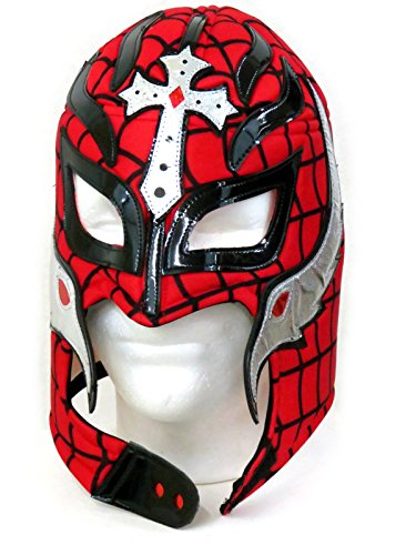[Rey Mysterio Adult Lucha Libre Wrestling Mask (pro-fit) Costume- Spiderwed Red] (Wwe Wrestling Costumes For Adults)