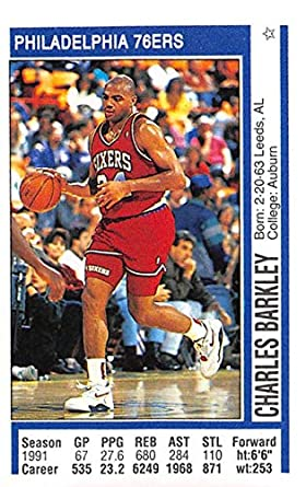 1991-92 Panini Stickers Basketball  169 Charles Barkley Philadelphia 76ers  2 inch by 3 6569e1ed9
