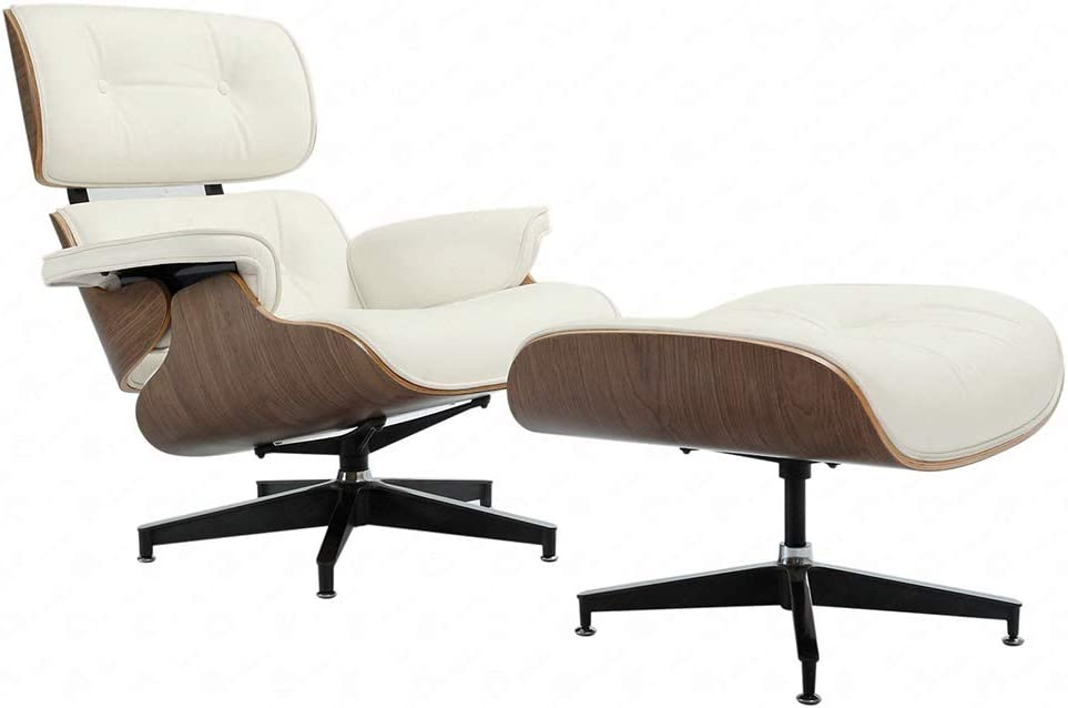 white midcentury modern chair and ottoman