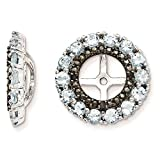 925 Sterling Silver Rhodium-plated Polished & Textured Black Sapphire & Aquamarine Earring Jacket