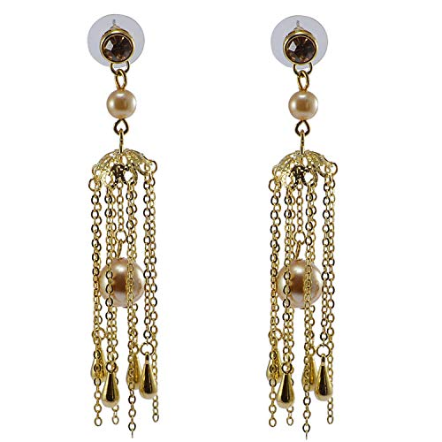 Saamarth Impex Champange CZ & Pearl Gold Plated Dangle Earring For Women & Girls PG-126528 ()