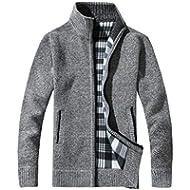 Gyoume Tops Men Jacket Coat Sweater Blouse Winter Zipper Stand Collar Pullovers Knitwear Outwear