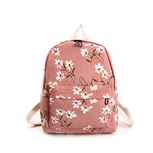 New Version Daisy Flannel Floral Printing Light Weight School Backpack For Girls (pink)