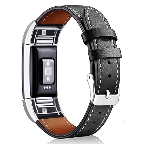 Price comparison product image Band for Fitbit Charge 2; Mosunx Classic Leather Wristband With Metal Connectors For Fitbit Charge 2 (F)