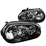 vw gti mk4 fog lights - For VW Golf GTI MK4 R32 Cabrio Replacement Black Headlights w/Built-in Fog Lamps
