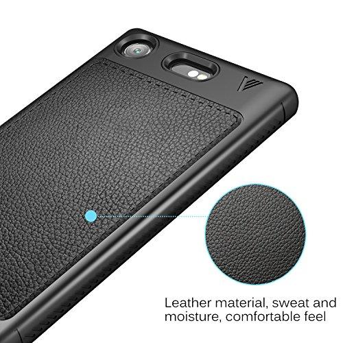 Funda Sony Xperia XZ1 Compact, KuGi anti-rasca la Carcasa del teléfono TPU del de la imitación ninguna Case del teléfono móvil caja del teléfono Cover para Sony Xperia XZ1 Compact Smartphone, (Negro) Negro