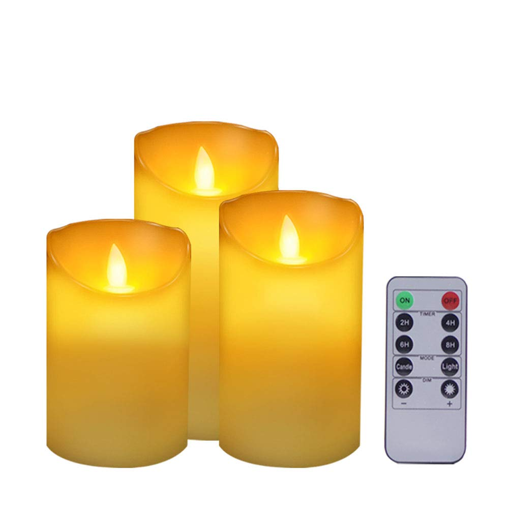 Flickering Flameless Candles Battery Operated Candles, Set of 3(H4\