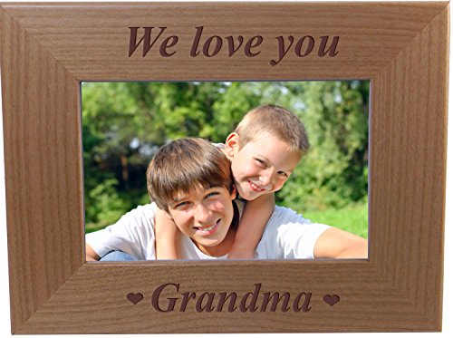 We Love You Grandma - Engraved Wood Picture Frame - Fits 4x6-inch Photo