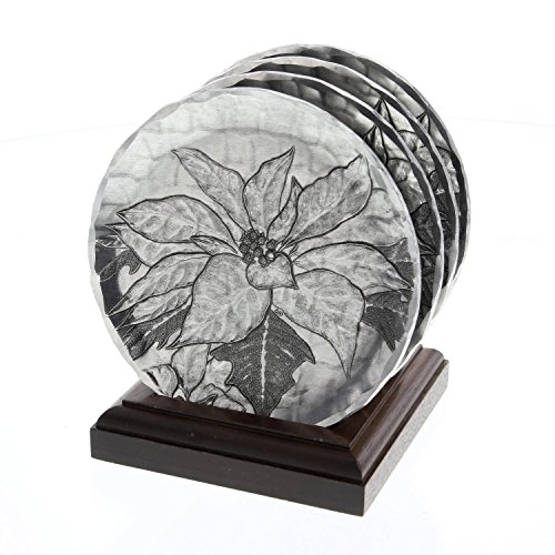 Sterling Silver Soda - Wendell August Poinsettia 4-Piece Coaster Set, Silver, Hand-hammered Aluminum, Keeps Tabletops Safe, 4.5 Inch Round Coaster