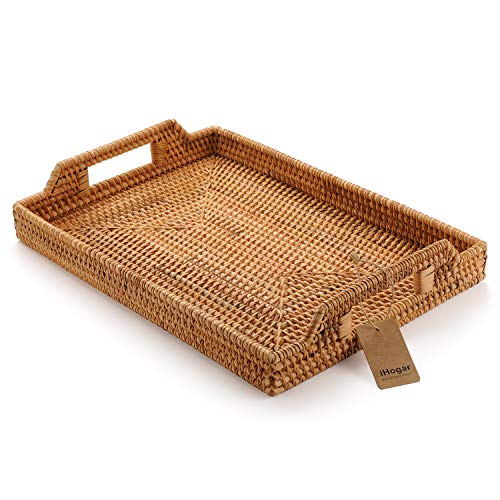 (Hand-Woven Rattan Rectangular Serving Tray with Handles for Breakfast, Drinks, Snack for Coffee Table (17x11.4inches, Natural) )