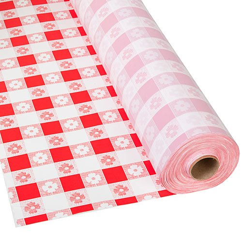 Gingham Table Cover Red Plastic 40 Inches x 300 ft Roll ()