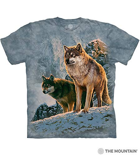 The Mountain Wolf Couple Sunset Adult T-Shirt, Blue, 2XL