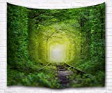 A.Monamour Mystical Green Trees Forest Tunnel Rail Tracks Path Psychedelic Fantasy Print Fabric Tapestry Wall Hanging Decors For Kids Bedroom Accessories 180X230Cm/71''X90''