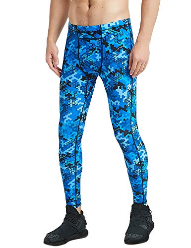 Sublimated Tights (LAFROI Men's UPF 50+ Baselayer Digital Sublimated Print Compression Tights Pants Leggings with Drawstring (Blue Hive, XXXL))