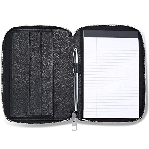 HISCOW Classy Leather Junior Zippered Portfolio with Pen Loop - Italian Calfskin (Pebbled Black) ()