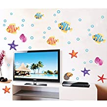 Ocean Fishes Wall Decal PVC Home Sticker House Vinyl Paper Decoration WallPaper Living Room Bedroom Kitchen Art Picture DIY Murals Girls Boys kids Nursery Baby Playroom Decor