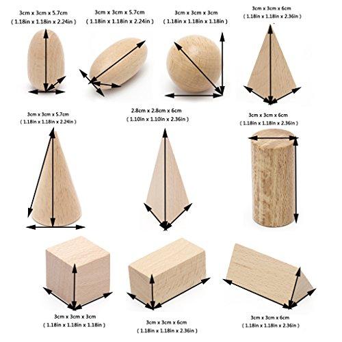 HNDHUI Wooden Geometric Solids 3-D Shapes Montessori