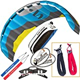 HQ Symphony Pro 2.5 Kite Edge Blue Yellow Bundle (3 Items) + Peter Lynn Heavy Duty Padded Kite Control Strap Handles Pair + WindBone Kiteboarding Lifestyle Stickers