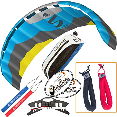 HQ Symphony Pro 2.5 Kite Edge Blue Yellow Bundle (3 Items) + Peter Lynn Heavy Duty Padded Kite Control Strap Handles Pair + WindBone Kiteboarding Lifestyle Stickers by HQ Power Kites, Peter Lynn, WindBone