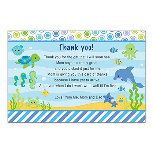 Customised Stationery - 30 Thank You Cards Boy Baby Shower Under The Sea Cards Photo Paper