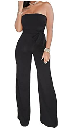 cf81bbc078b YKeen Women Lace up Sexy Backless Strapless Wild Pure Color Jumpsuits Black  XXS