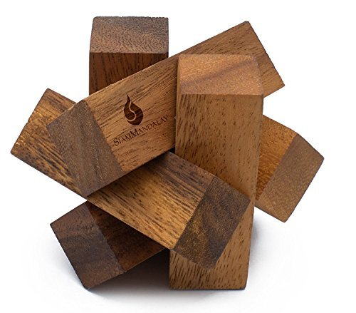 Mini Lumberjack: Handmade & Organic 3D Brain Teaser Wooden Puzzle for Adults from SiamMandalay with SM Gift ()