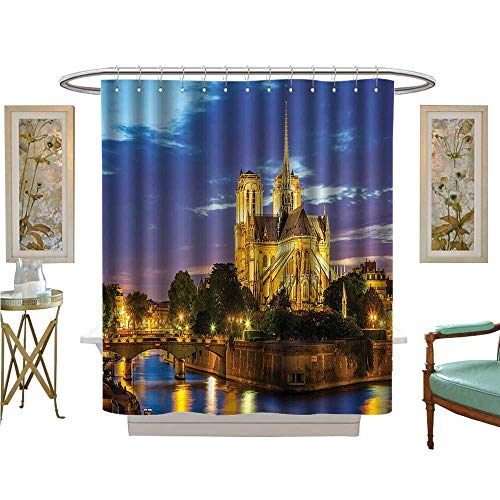 UHOO2018 Shower Curtains Digital Printing Dame Cathedral Dusk in Paris France Riverside ery Lights Reflecti Fabric Bathroom Set with -