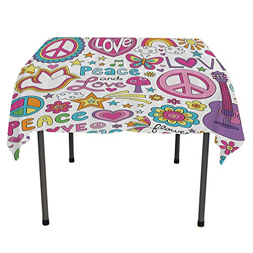 1960s Decorations Collection Dinning Table Covers Sunlights Sunny Floral Birds Guitar Flower Power Stars Quotes Peace Love Image Pink Yellow Blue Easter tabkeckoth Spring/Summer/Party/Picnic 52 by 70 ()
