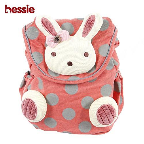 Hessie Little Girls Boys Safety Harness Backpack, Canvas Travel/School/Preschool Mini Bag, Kids Animal Rucksack with Anti-lost Belt, Pink Bunny Backpack - Orange Bunny