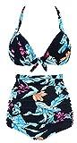Ebuddy Women's Retro 50s Halter High Waist Bikini Carnival Swimsuit Swimwear,Feather Print-2XL
