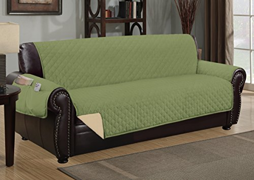 Sofa Guard Deluxe Reversible Sofa Furniture Protector, Sage/Tan