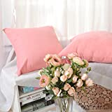Kevin Textile Solid Faux Suede Throw Pillow Cover/Euro Sham/Cushion Sham, Super Luxury Soft Pillow Cases, Many Color & Size options (24''x24'', 2 Packs, Strawberry Ice Pink)