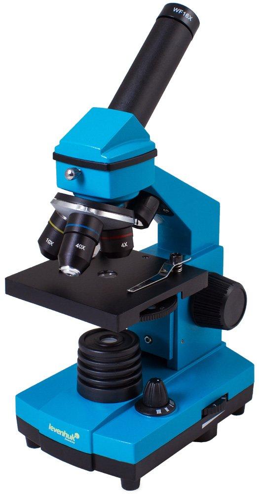 Levenhuk Rainbow 2L Plus Azure Student Microscope with Experiment Kit (64–640x)