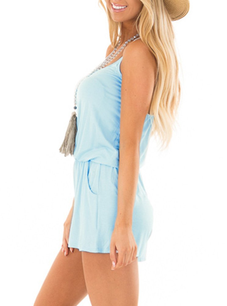 REORIA Womens Casual Summer One Piece Sleeveless Spaghetti Strap Playsuits Short Jumpsuit Beach Rompers Light Blue Small by REORIA (Image #2)