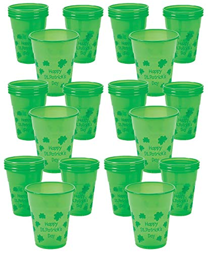 St. Patrick's Day Cups 50 Disposable Plastic, Bulk Bright Green, Great Party Favors Supplies, By 4E's Novelty ()