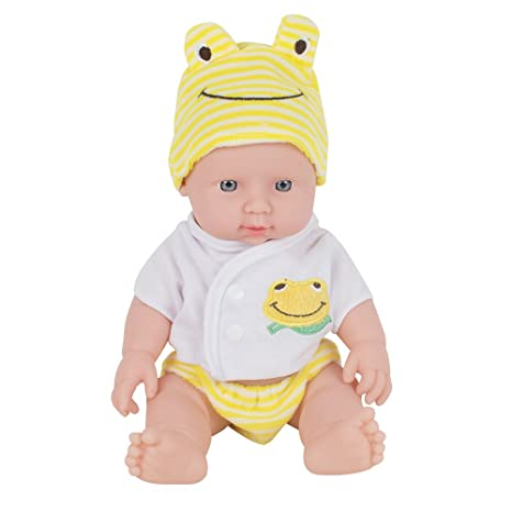 Ovovo Reborn Newborn Baby Doll Soft Vinyl Silicone Lifelike Sound Laugh Cry  reborn baby doll for Boys Girls Gift - 12 inches (Yellow)