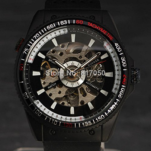 Watch Magasin New 2015 Fashion Winner White Dial Skeleton Clock Rubber Band Army Automatic Military Mechanical Self Wind Men Wrist Watch