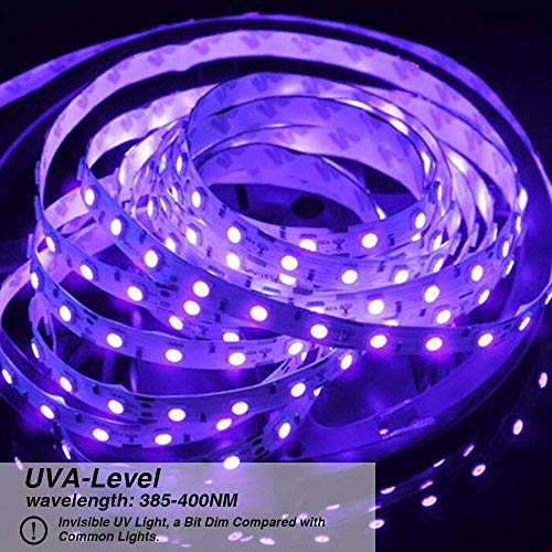 Onforu 33ft LED UV Black Light Strip Kit, 600 Units UV Lamp Beads, 12V Flexible Blacklight Fixtures, 10m LED Ribbon, Non-Waterproof for Indoor Fluorescent Dance Party, Stage Lighting, Body Paint by Onforu (Image #2)